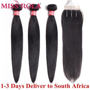 Fräulein Rola Brasilianische Haarwebart Bundles 100% Menschliches Haar Nicht-Remy Gerade Haar Extensions Natürliche Farbe 3 Bundles Mit verschluss