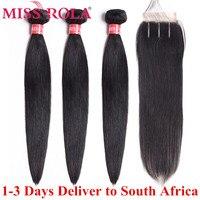 Miss Rola, бразильские пучки волос, 100% человеческие волосы, не Реми, прямые волосы для наращивания, натуральный цвет, 3 пучка с закрытием