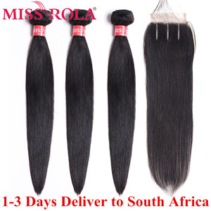 Miss Rola Brazilian Hair Weave Bundles 100% Human Hair Non-Remy Straight Hair Extensions Natural Color 3 Bundles With Closure