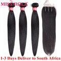 Miss rola cabelo brasileiro tecer pacotes 100% cabelo humano não-remy extensões de cabelo em linha reta cor natural 3 pacotes com fechamento