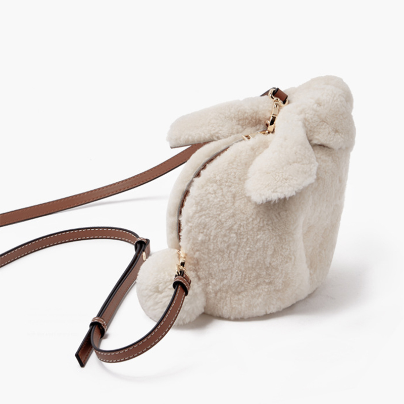 New original women shoulder bag lamb hair rabbit bag simple mobile phone genuine leather handbag GN-SB-zptzjy