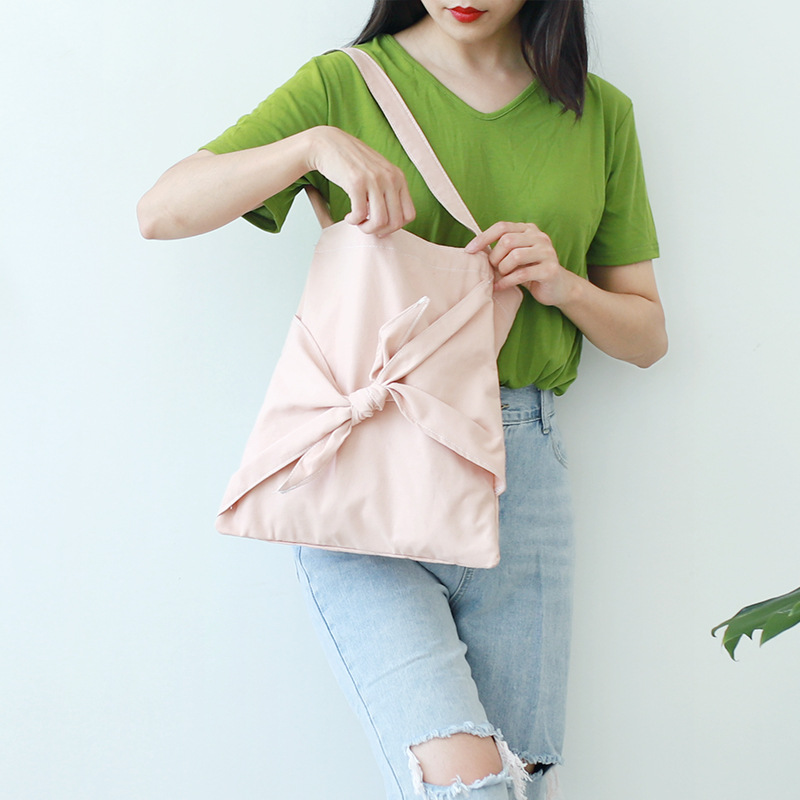 Women Canvas Bag Simple Cotton Cloth Fabric Casual Tote Students School Books Messenger Bags Foldable Soft Shoulder Bag Pink