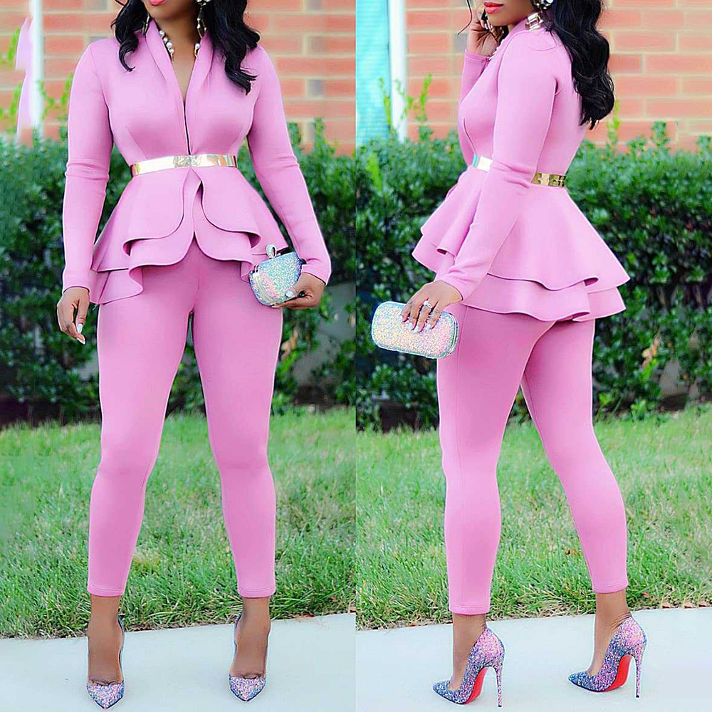 H5eeb140021fc42a381f5cb11f3593323k - Plus Size Office Ladies Blue Pink 2 two piece set top and pants Elegant Female Casual Business matching suit sets Women clothing