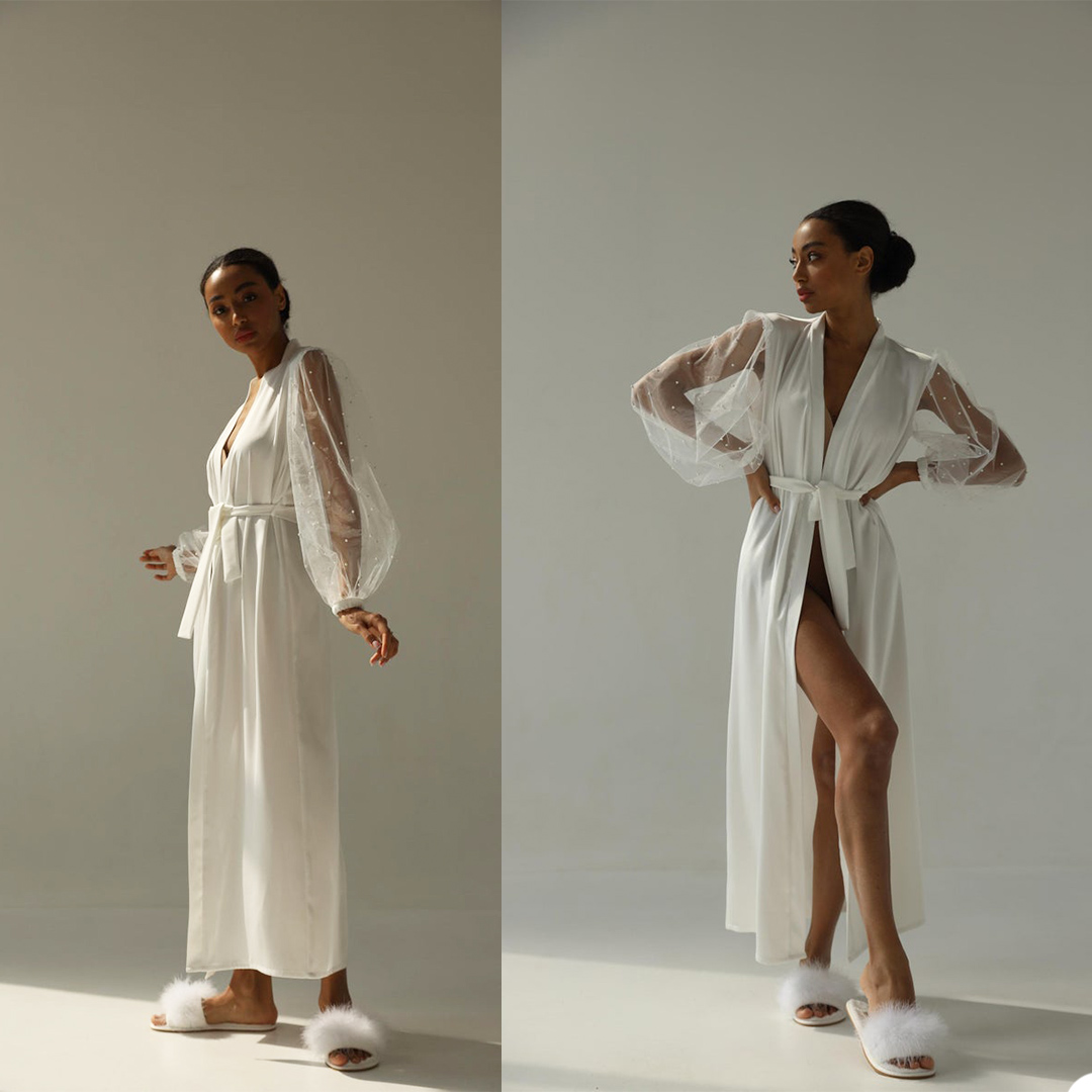 Sexy Summer Women Pajamas Deep V Neck Long Sleeve Ankle Length Bath Robe With Belt Bathtub Night Gown