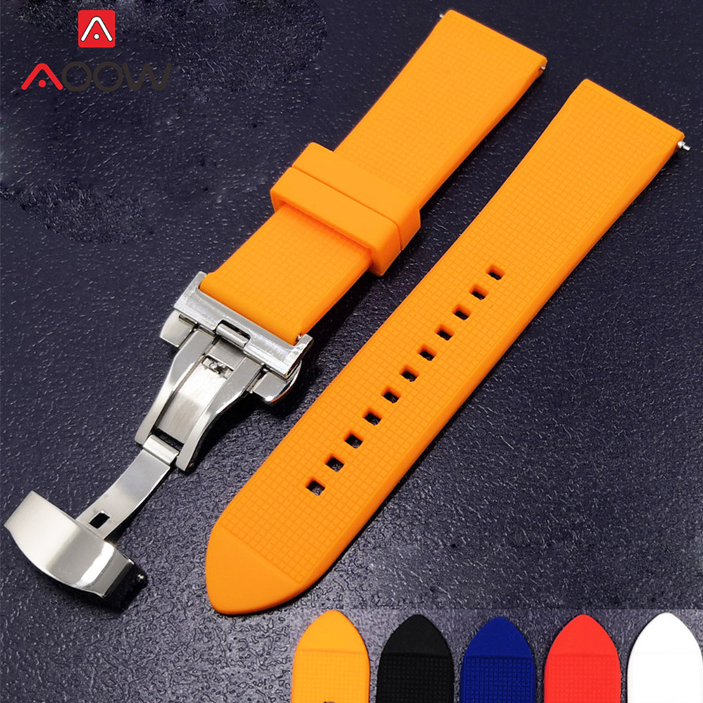 Silicone Watchband 18mm 20mm 22mm For Samsung Galaxy Watch 42mm 46mm Rubber Quick Release Butterfly Buckle Bracelet Band Strap