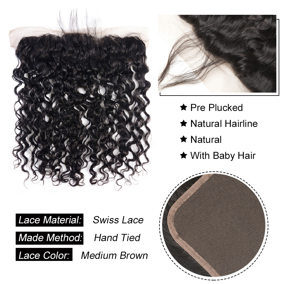 H5eeb42da45ac43e580717c22198ba6f2D Vanlov Human Hair Bundles With Frontal Brazilian Water Wave With Closure Frontal With Bundles #1B #1 #613 More Expensive Remy