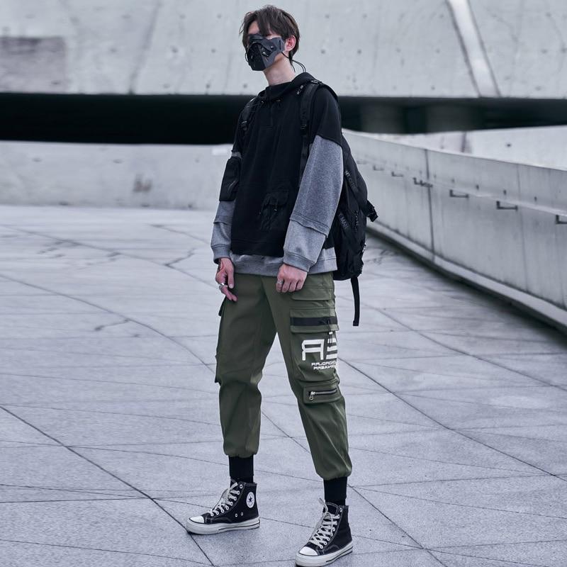 ELKMU Military Cargo Pan Men Fashion Streetwear Joggers Pants Sweatpants Men Jogger Pencil Pants Pocket Male Harajuku HE184
