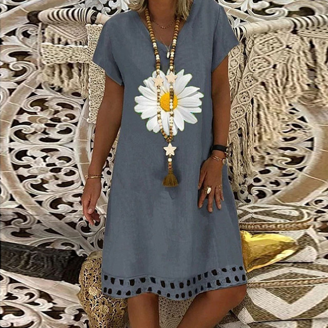 Fashion linen dress Women Plus Size Daisy Printed Short Sleeves V-Neck Casual Short Dress bayan elbise 1