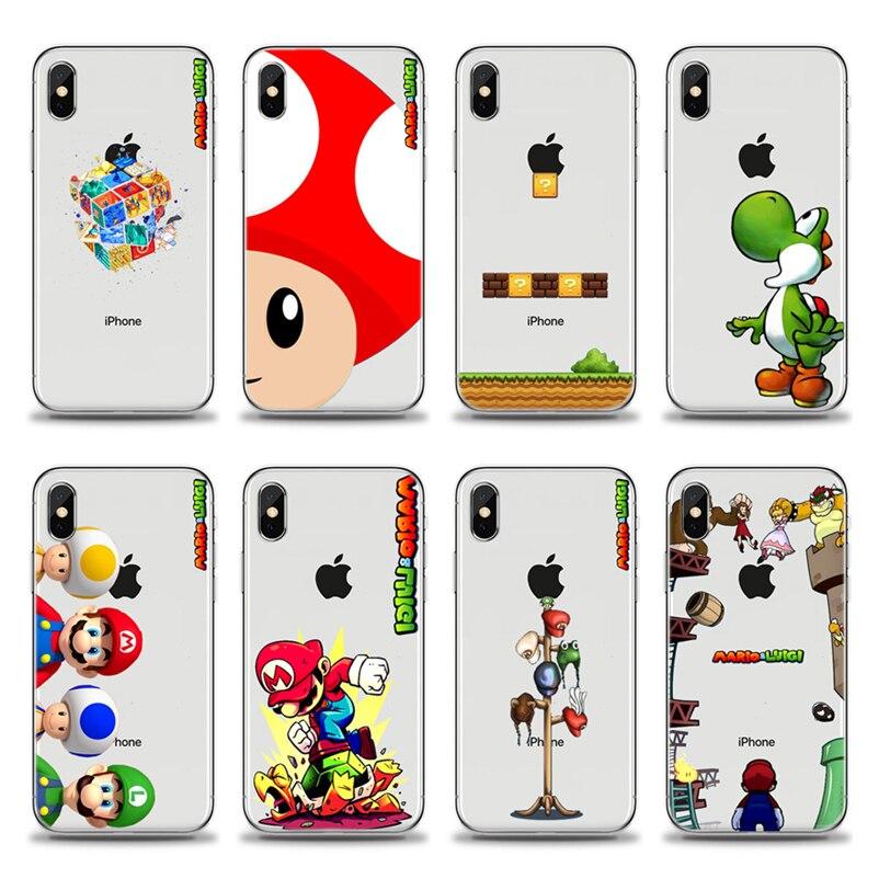 Super mario bros Flexivel Telefone Soft phone silicone TPU Fundas Cover Case Coque Para o iphone 4 5 6 7 8 X plus Xmax XR XS