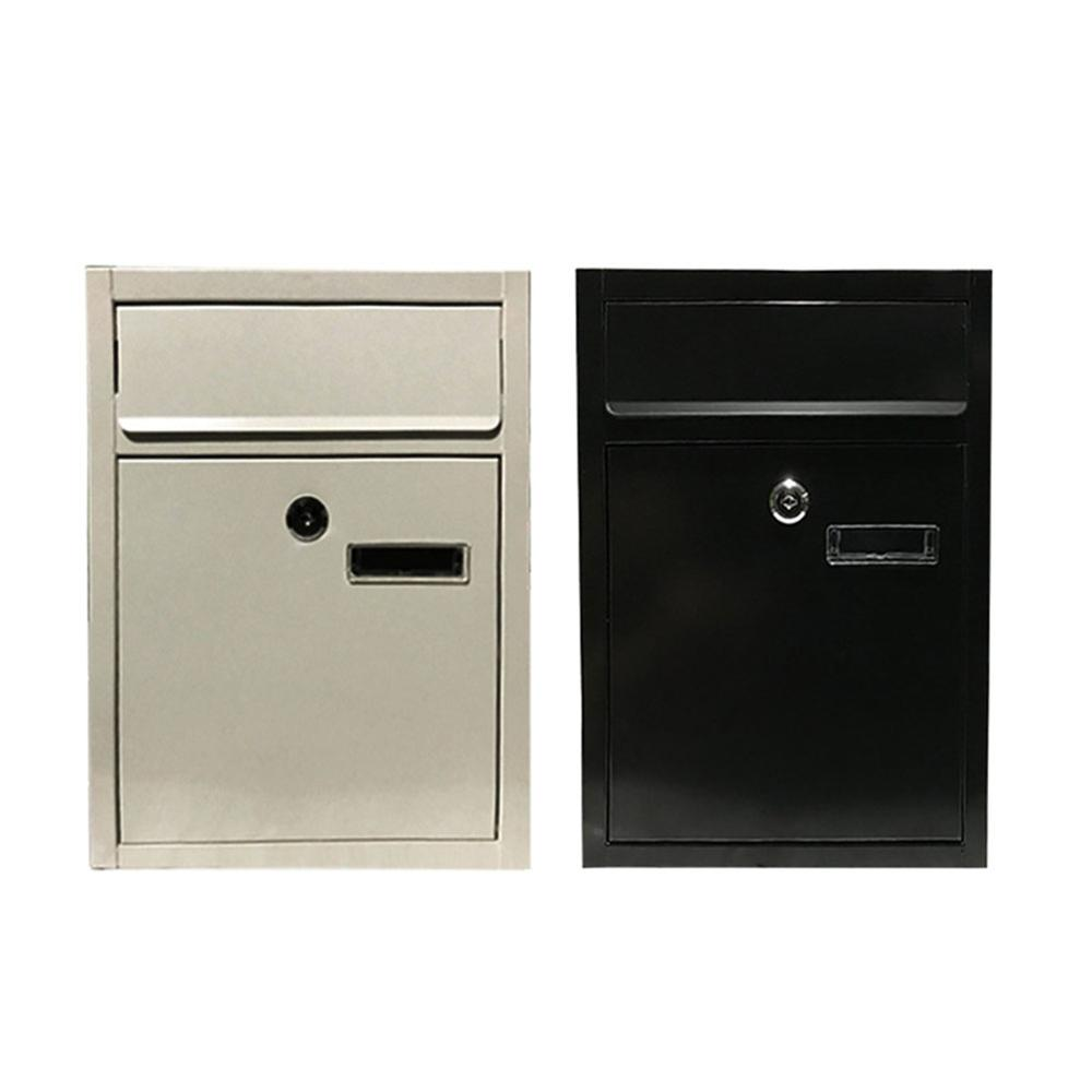 Metal Black Key Lockable Wall Mount Mailbox Steel Durable Large Storage Letter