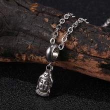 Mini Buddha Head Pendant Necklace for Women Fashion Stainless Steel Jewelry Necklaces Unisex 24 inch