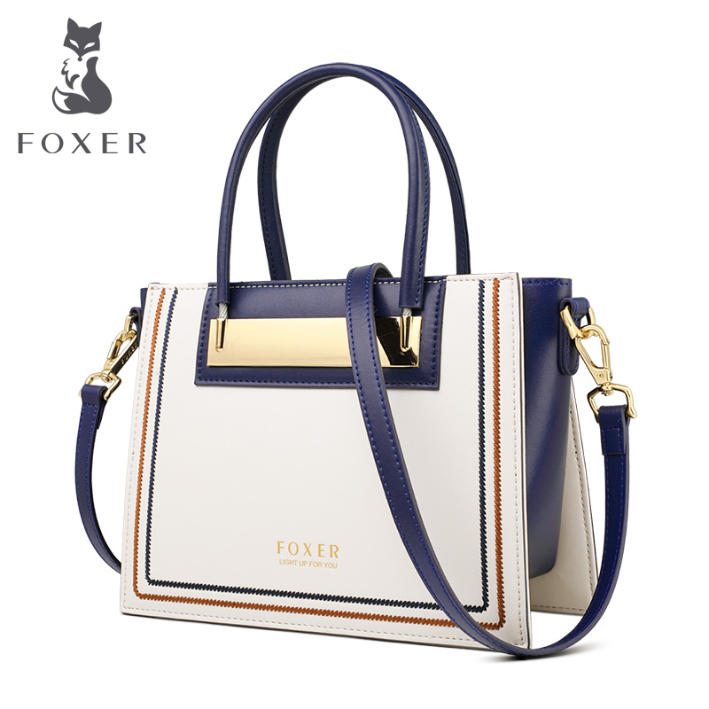 FOXER Cowhide Leather Office Lady Chic Purse Luxury Messenger Bags For Fashion Female High Capacity Women Handbag Elegant Totes