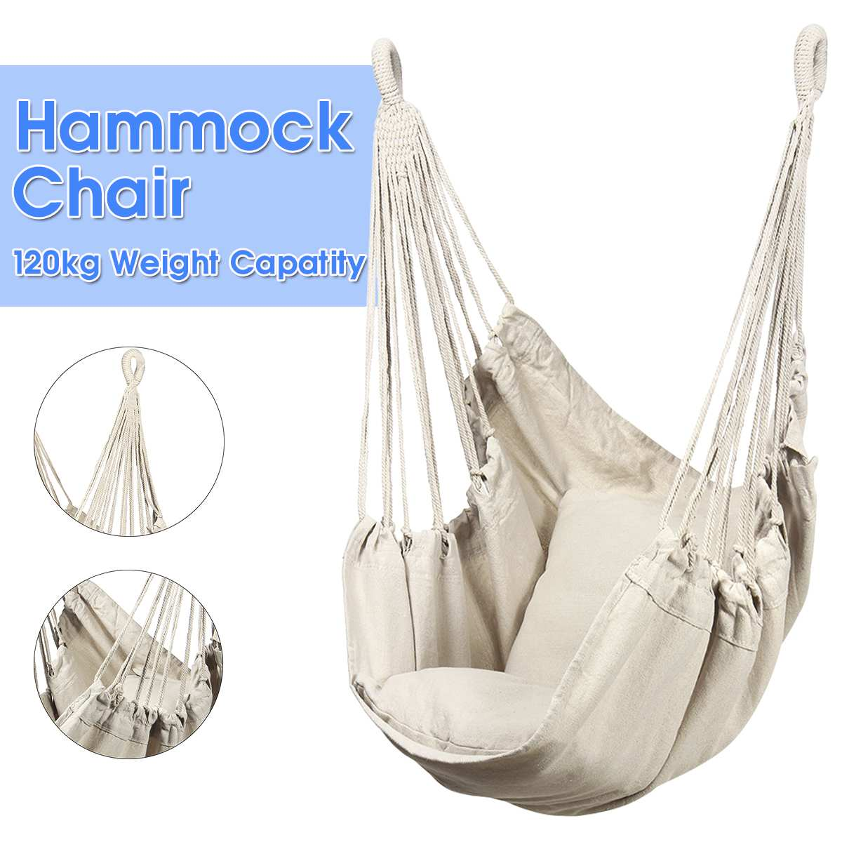 Instyle Bold Cotton Rope Hammock Swing Chair Patio Swing Outdoor Garden Hanging Chair Travel Camping Hammock Silla Colgante