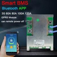 Tüketici Elektroniği'ten Pil Aksesuarları'de DYKB akıllı BMS 3S 12V 60A 80A 100A 120A Li ion lityum koruma levhası W denge yüksek akım Bluetooth APP PC yazılımı GPRS