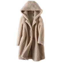 Winter Coat Sheep Shearing Hooded Women Jacket Fur Lambswool Long-Fur Korean Fashion