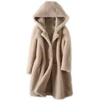 Winter coat women Sheep shearing Overcoat 2020 Korean Fashion Hooded lambswool Long fur coat Casual Women Jacket fur Outerwear