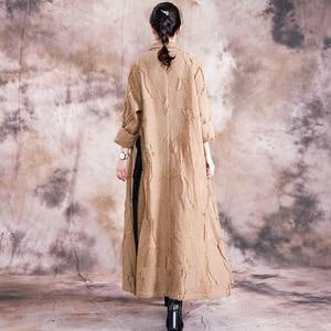 Image 2 - Johnature automne/hiver 2019 nouveau manteau de Trench Vintage femmes col rabattu ample longue Patchwork réglable taille manteau