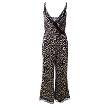 Sexy Women Pajamas Romper Jumpsuit Spaghetti Strap Sleeveless Lace Patchwork Lounge Wear Summer Women V-neck Sleepwear plunge v neck strap back lace romper in printing