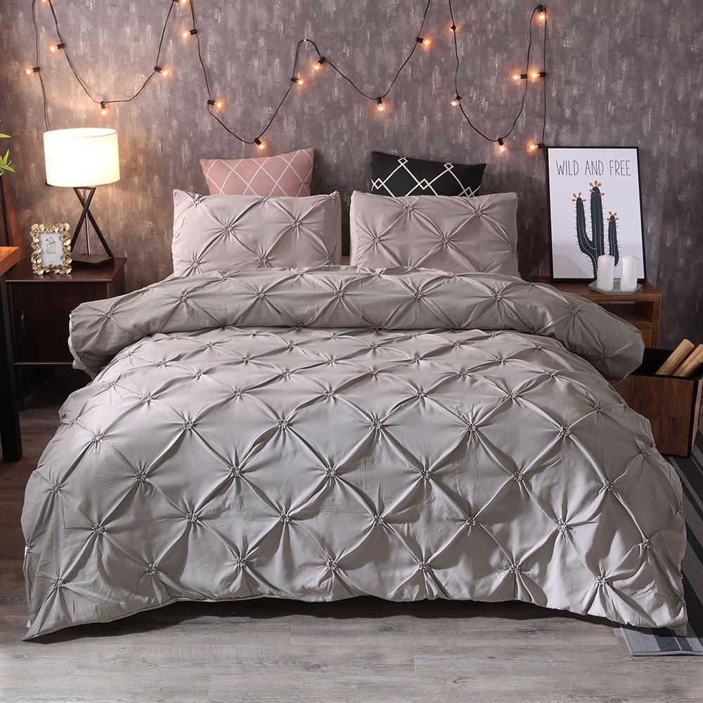 طقم سرير فاخر غطاء لحاف قرصة الطية طقم سرير موجز الملكة الملك 3 قطعة أغطية سرير مجموعة المعزي مجموعة غطاء مع المخدة