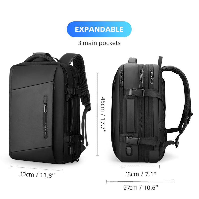 Image 5 - Mark Ryden 17 inch Laptop Backpack Raincoat Male Bag USB Recharging Multi layer Space Travel Male Bag Anti thief Mochila-in Backpacks from Luggage & Bags