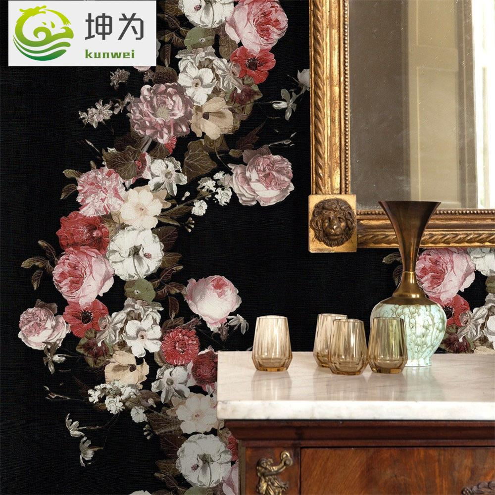10m * 0.53m rétro européen américain jardin Floral papier peint 3D stéréo noir motif PVC porche couloir TV fond papier peint