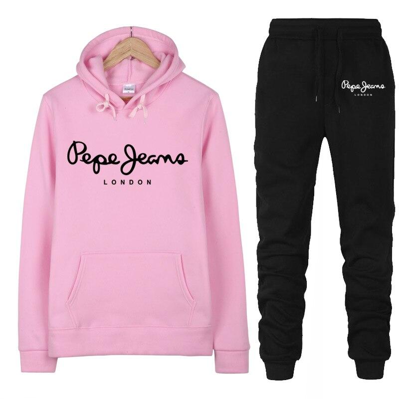 2020 nueva marca de 2 piezas conjunto de las mujeres impresión marca sudaderas con capucha Set de ropa de pantalones de las señoras calientes de chándal Top pantalones traje femenino