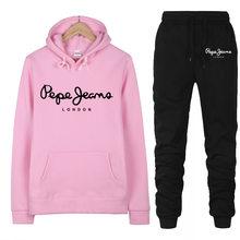2020 nova marca 2 peça conjunto de impressão feminina marca hoodies pant conjunto roupas senhoras quentes sólido treino calças superiores terno feminino