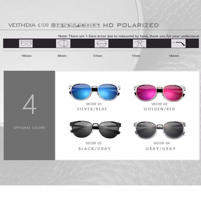 VEITHDIA 2020 แว่นตากันแดด VINTAGE ของผู้หญิง Polarized เลนส์แว่นตากันแดด Retro รอบแว่นตาแว่นตาอุปกรณ์เสริมสำหรับผู้หญิง 6109