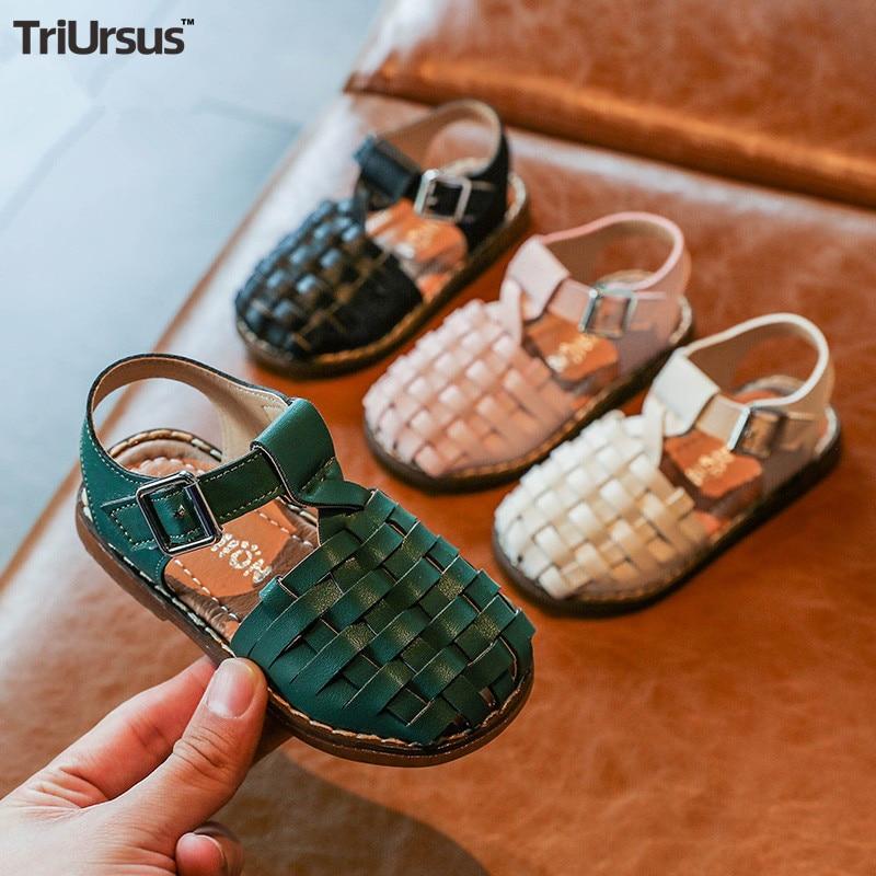 Triursus 2020 New Vintange Weave Solid Girl's Sandals Closed Toe Sandals For Girl Kids Baby Flat Girls Sandals Summer Kids Shoes
