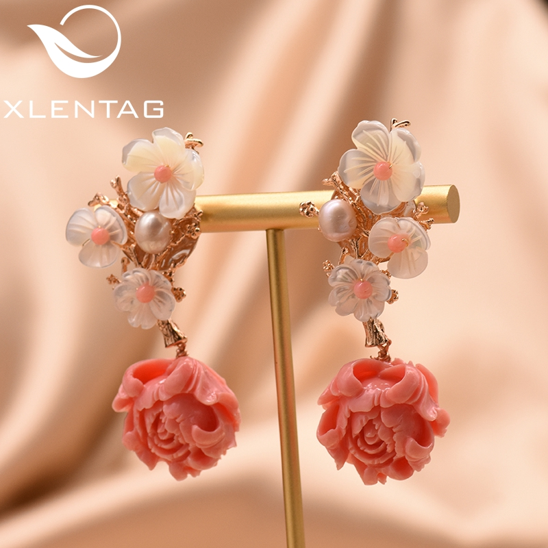 XlentAg Natural Fresh Water Pearls Pink Coral Dangle Flower Earrings For Girls Lovers Party Luxury Irregular Jewelry GE0024B