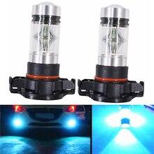 1 Pair 8000K Ice Blue 100W High Power LED Headlight Bulbs Car Fog Light Kit 12-24V Day Running Light