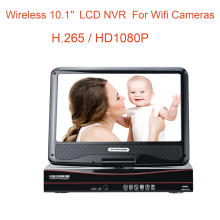 8CH H.265  HD1080P wireless LCDNVR recorder for wirelss cctv camera system add more wifi audio cctv cameras on this NVR recorder