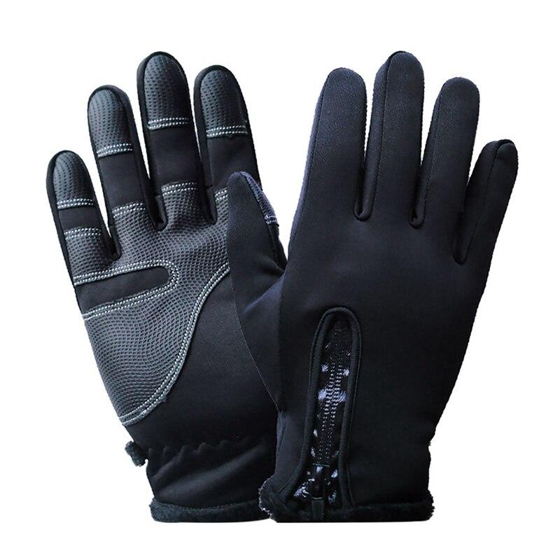 Men Women Winter Touch Screen Gloves Warm Windproof Glove Zipper Velvet Lining Waterproof Anti-slip Riding Skiing Snow Gloves