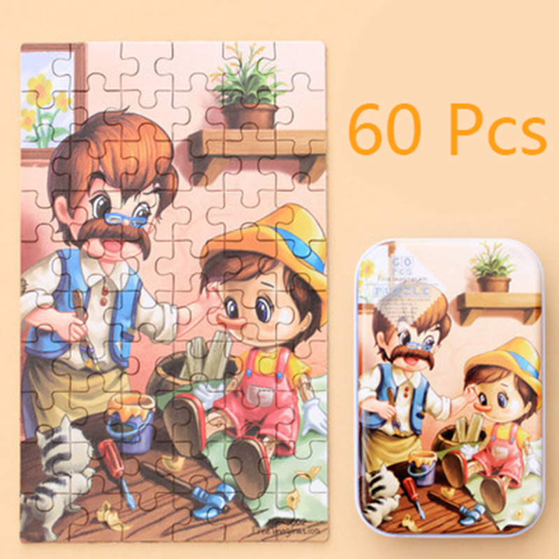 Wooden Puzzle 60Pcs Toys for Children Wood Jigsaw Baby Educational Christmas Gift Cartoon Animal Puzzle Box Montessori Material 4