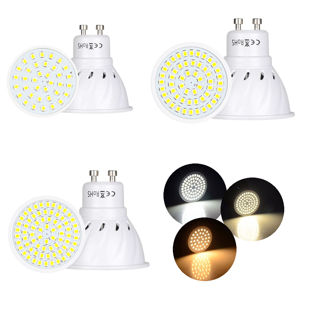 GU10 LED Spotlight Bulbs 110V 220V 2835 SMD 4W 6W 8W 36 54 72LEDs Cold Warm Neutral White GU 10 Base Lamp 12V 24V For Home Decor