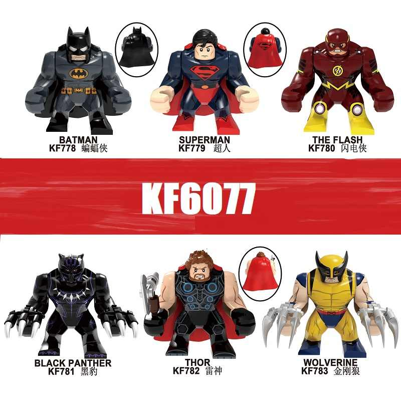 Única Venda Building Blocks Super Heroes Batman Superman Black Panther O Flash Thor Wolverine Figuras Para As Crianças Brinquedos KF6077