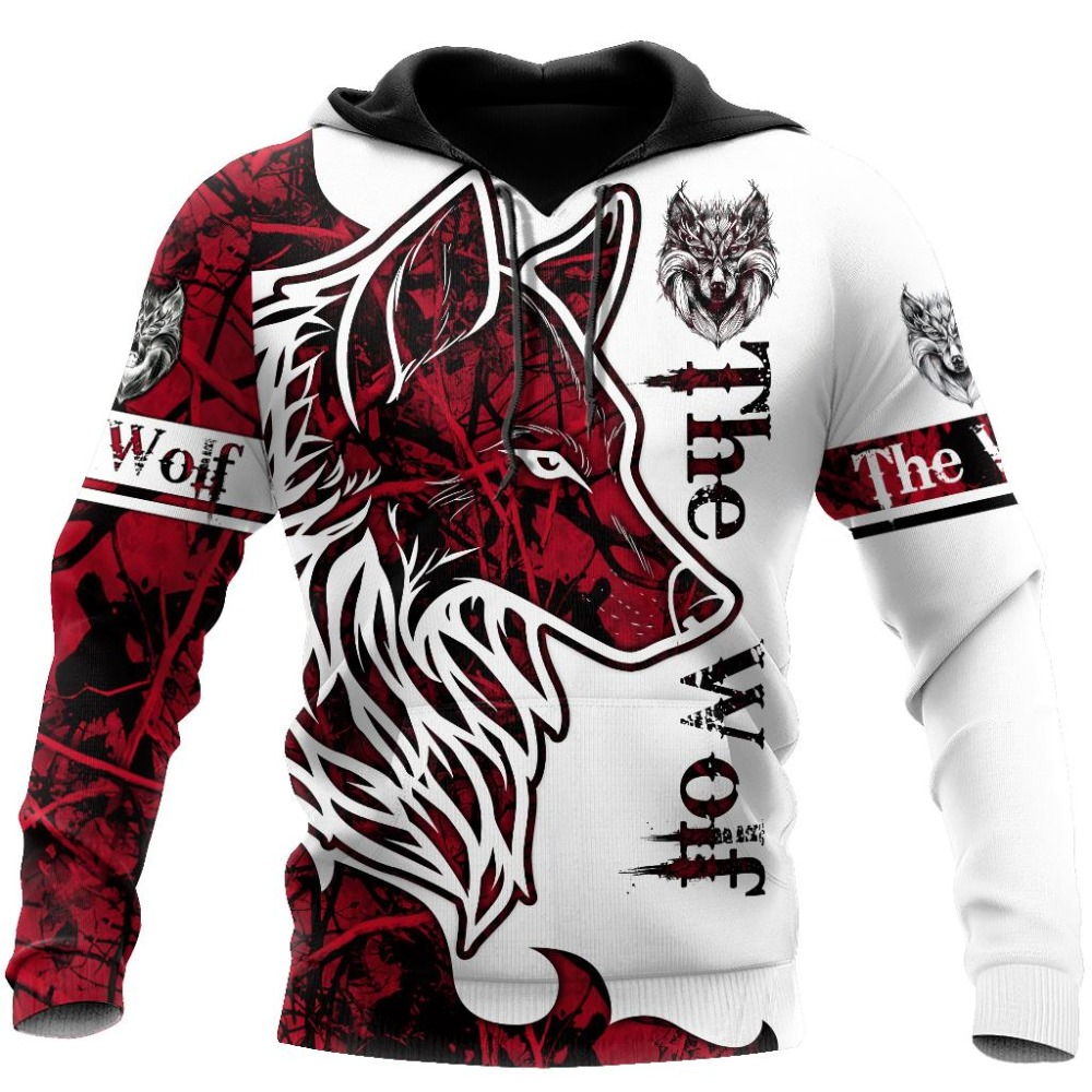 Wolf Tattoo Mens Casual 3D Print Hoodies Man Pullover Women Hood Sweatshirts Hip-Hop Jacket Unisex Coat New Fashion Streetwear