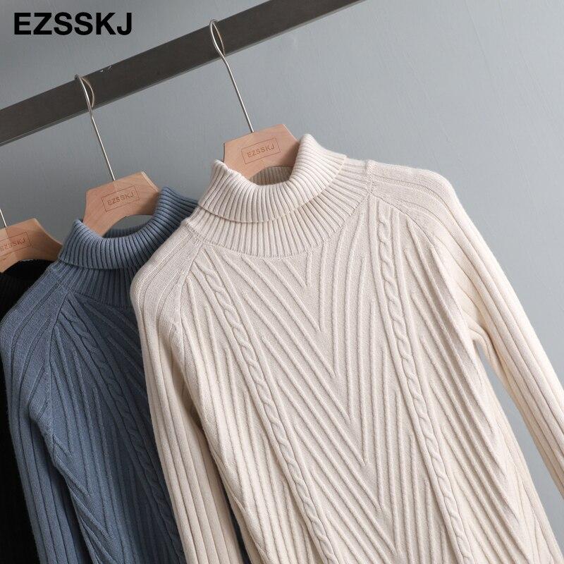 2019 Autumn winter Thick Turtleneck Fishtail sweater dress women basic warm midi sweater dress female 71