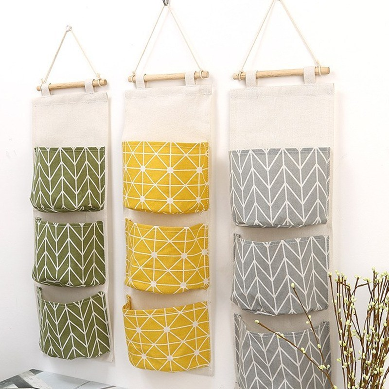 3 Pockets Cotton Linen Wall Hanging Storage Bags Door Pouch Bedroom Home Storage Pocket Home Decor Hanging Bag Pf90915