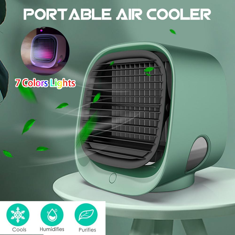 Mini Portable Air Conditioner 3 Colors Light Conditioning Humidifier Purifier USB Desktop Air Cooler Fan With Water Tank Home 5V