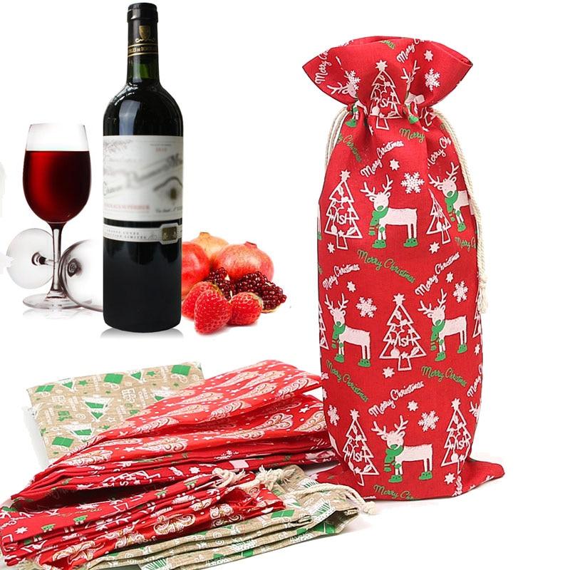 3Pcs Christmas New Year Red Wine Bag Gift Imitation Linen Drawstring Bag Christmas Decoration Bag