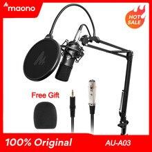 MAONO AU-A03-micrófono condensador profesional para estudio Podcast, Audio, 3,5mm, micrófono para ordenador, PARA Karaoke, grabación de videojuegos