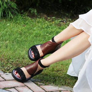 Image 3 - GKTINOO Womens Summer Sandals Genuine Leather Handmade Ladies Shoes 2020 Summer Thick Sole Women Retro Sandals Buckle Shoes