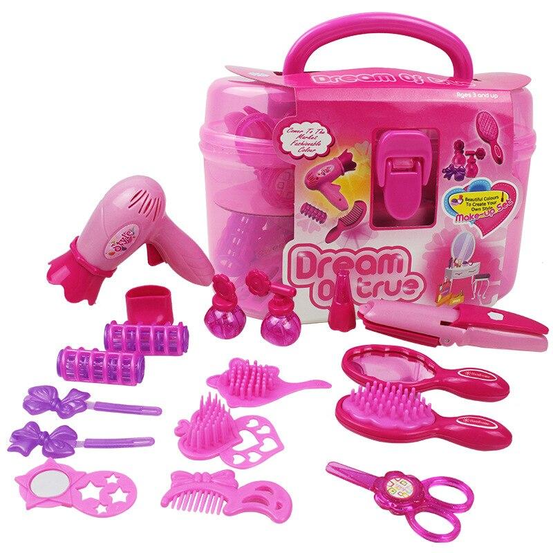 Moda Bonito Crianças Pretend Play Brinquedos Compõem Conjunto Decorativo Rosa Maquiagem Brinquedo de Simulação de Plástico Secador de Cabelo Salão de Beleza