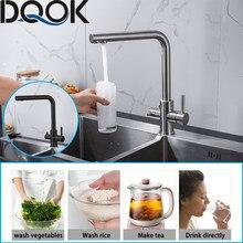 DQOK trinkwasser gefiltert wasser küche wasserhahn Reinigung wasserhahn Dual Griff Wasserhahn Kitchen sink tap
