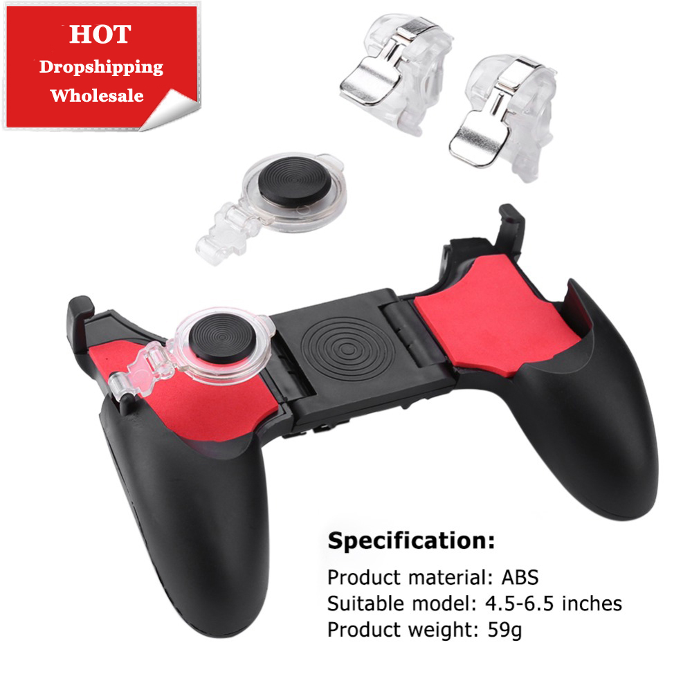 <font><b>5</b></font> in <font><b>1</b></font> PUBG Moible Controller Gamepad Free Fire L1 R1 Triggers PUGB Mobile Game Pad Grip L1R1 Joystick for iPhone Android Phone image
