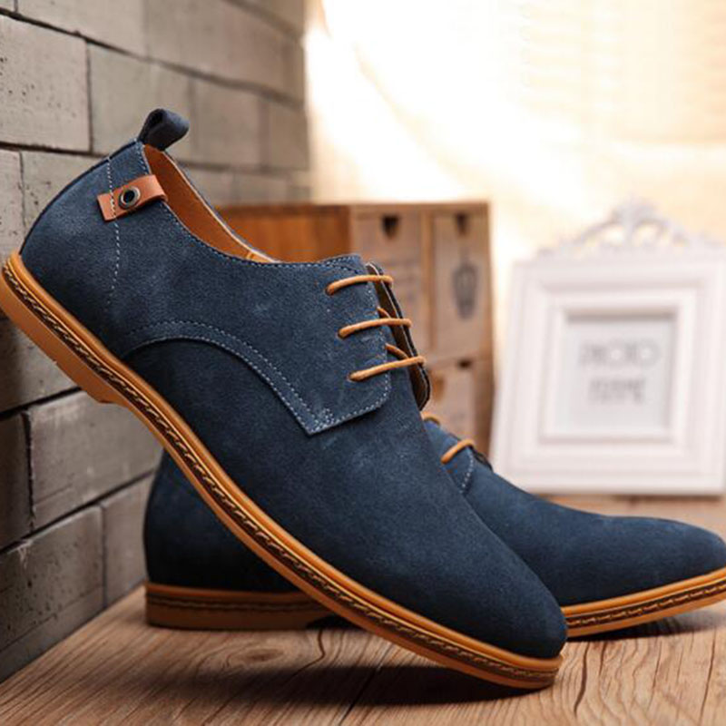 Men Casual Cow Suede Breathable Comfortable Lace-up Shoes Spring Autumn Outdoors Wear Massage Waterproof Flats Low Help Shoes