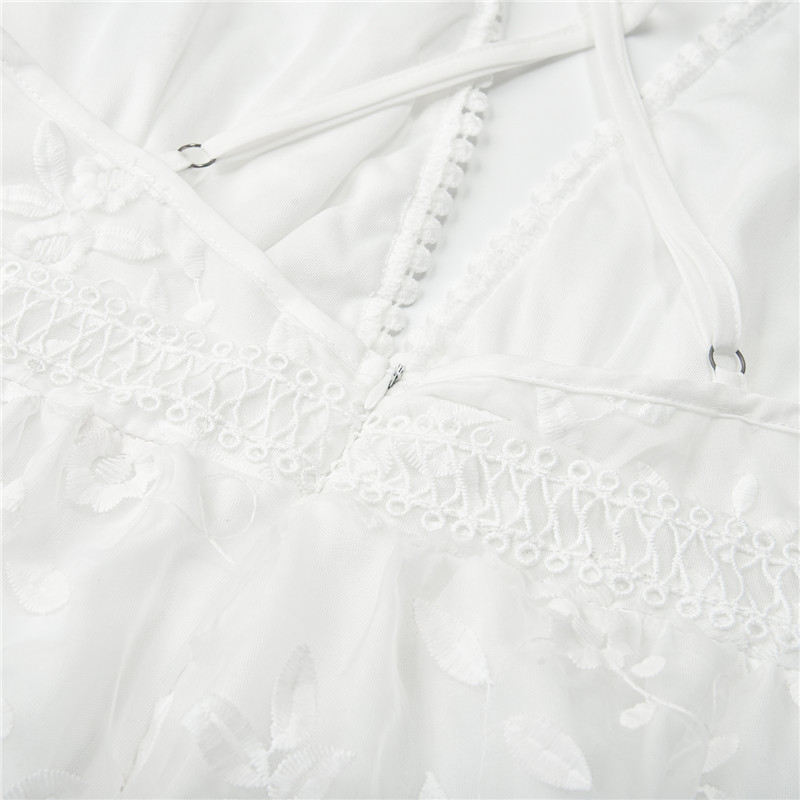 Womens V-Neck Spaghetti Strap Bowknot Backless Sleeveless Lace Mini Swing Skater Dress 3