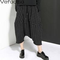 Vefadisa Autumn Black Plaid Calf Length Pants Mid Waist Harem Pants Casual Loose Pockets Pants Woman 2019 QYF585