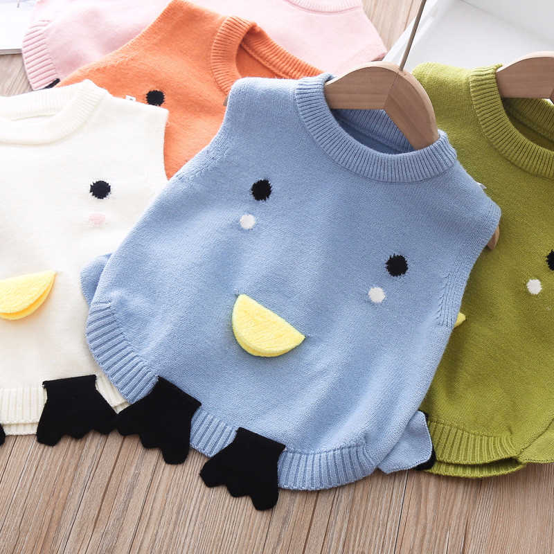 Autumn 2020 New Children Woolen Vest Pullover Sweater Baby Kids Cartoon Duck Knitted Waistcoats for Girls and Boys Tops Clothes